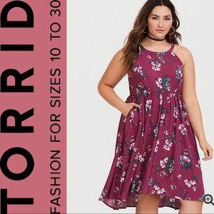 Torrid Berry Floral Hi-Lo Challis Dress, Size 1x